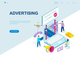 Concept isométrique de design plat moderne de publicité et de promotion