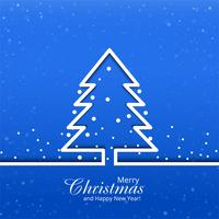 Merry christmas card with tree blue background