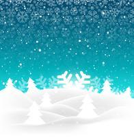 Elegant merry christmas tree with snowflake background