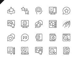 Conjunto simples de ícones de linha vetor relacionados de feedback