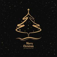 Merry christmas card with shiny tree vector design