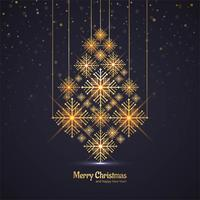Merry Christmas shiny tree celebration greeting card design vect