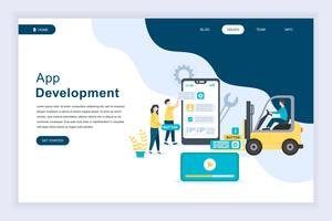 Concepto de diseño plano moderno de desarrollo de aplicaciones
