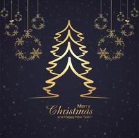 Resumo festival feliz Natal cartão floco de neve e árvore backgr