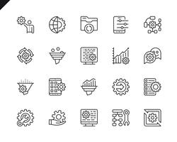 Simple Set of Data Processing Related Vector Line Icons