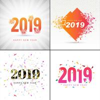 Modern Happy new year 2019 background collection design