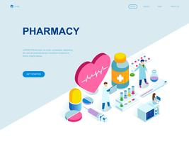Concepto isométrico moderno de diseño plano de la farmacia.