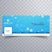 Elegant decorative merry christmas facebook banner template vect