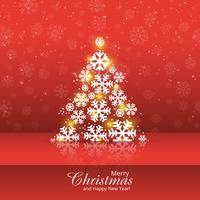 Snowflake tree merry christmas card design illustration
