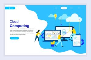 Modernt plattdesignkoncept av Cloud Technology