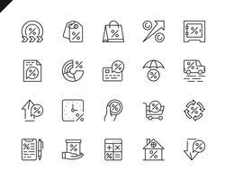 Ensemble simple d'icônes de ligne pour le vecteur lié à l'argent du prêt