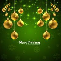 Vrolijke Kerstmiskaart met glanzende balillustratie als achtergrond