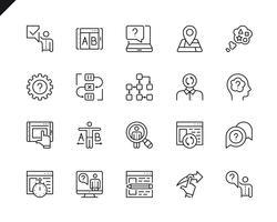Conjunto simples de ícones de linha do vetor relacionados UX. Pacote de pictograma linear