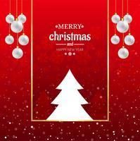 Mooie vrolijke Kerstmisbal met de achtergrond van de boomkaart