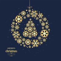 Merry christmas card decoratieve bal met sneeuwvlok ontwerp