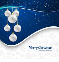 Beautiful merry christmas card with balls background
