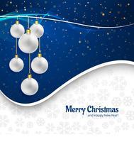 Mooie vrolijke Kerstkaart met ballenachtergrond