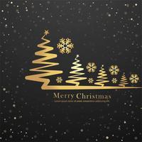 Elegant merry christmas tree card design vector