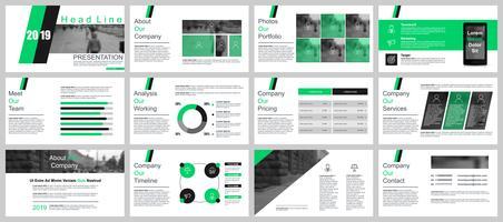 Bedrijfspresentatie schuift sjablonen uit de infographic