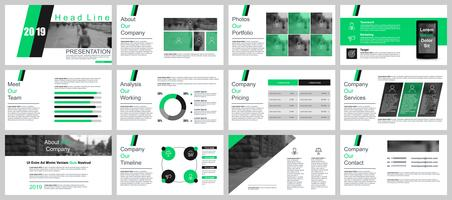 Modelos de slides de apresentação de negócios de infográfico
