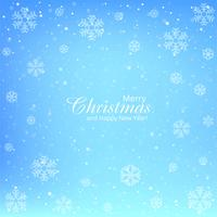 Snowflake merry christmas card blue background vector