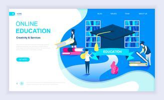 Concepto de diseño plano moderno de la educación en línea