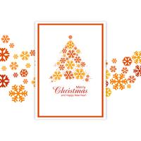 Beautiful card festival merry christmas snowflake tree design il
