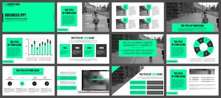 Modelos de slides de apresentação de negócios de elementos de infográfico