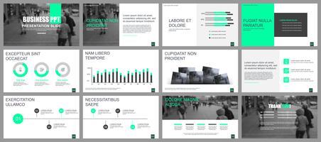 Bedrijfspresentatie schuift sjablonen van infographic elementen