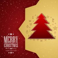 Merry christmas card tree festival background vector