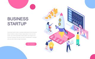 Modern flat design isometric concept of Startup