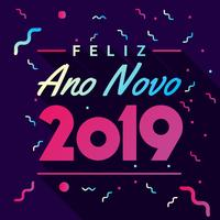 Happy New Year Card Over Dark Background With Colorful Confetti