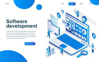 Modern isometric design concept of Software Development