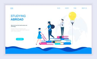 Modern flat design concept of Studying Abroad