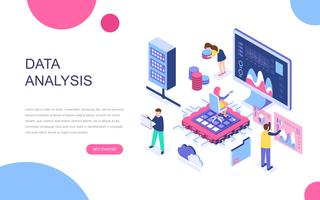 Modern flat design isometric concept of Big Data Analysis