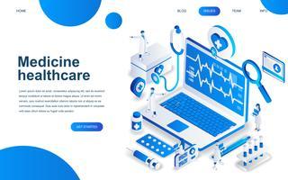 Concepto de diseño isométrico moderno de la medicina en línea