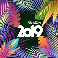 2019 Happy New Year Tropical Holiday Concept Background
