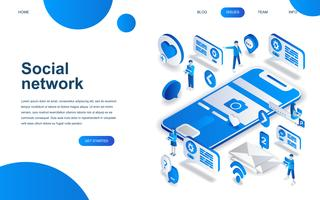 Modern isometric design concept of Social Network