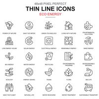 Thin line environment, renewable energy icons set
