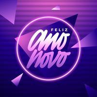 Lettrage à la main Feliz Ano Novo de style électronique Vaporwave