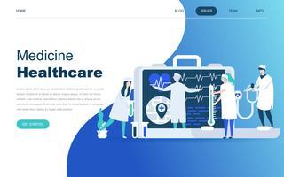Concepto de diseño plano moderno de la medicina en línea y la asistencia sanitaria.