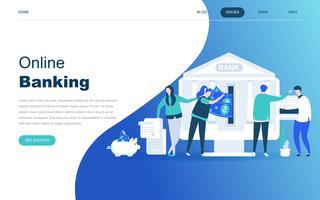 Modern plat ontwerpconcept van online bankieren