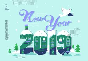 Happy New Year 2019 Lettering Vector Illustration