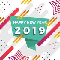 Flat Abstract Happy New Year Instagram Post Vector Illustration