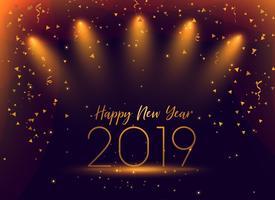Fondo de confeti celebración de año nuevo 2019