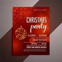 shiny red christmas party invitation flyer design