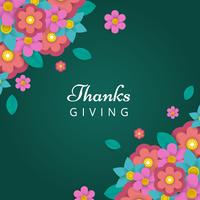 Floral Paper Craft Thanks Giving Vector