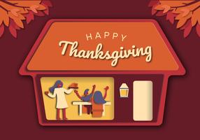 Thanksgiving Family Dinner Background vector Illustration