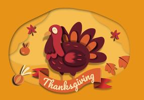 Tanksgiving Background Papercraft Style vector Illustration