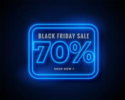 black friday sale banner in blue glowing neon lights